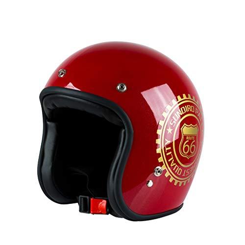 FLY® Casque, Casque Moto Rétro Harley, Demi-casque Universel Quatre Saisons, Pour Homme Et Femme Réglable (55cm-60cm) (Couleur : Red1)