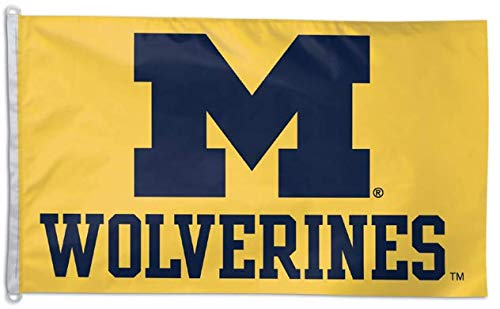 WinCraft NCAA Michigan Wolverines 3'x5' Flag - Blue M with Wolverines Text on Yellow Background
