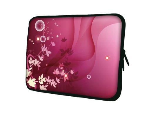 wortek Universal Laptoptasche Schutzhülle Sleeve aus Neopren bis ca. 13,3 Zoll - Pink Weiß Blumen Ranke