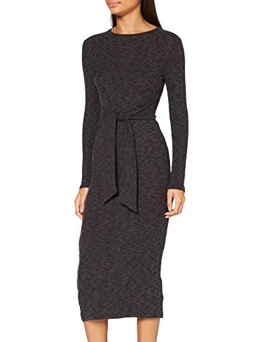 Miss Selfridge Dark Grey Tie Waist Brushed Ribbed Midi Dress Vestito Casual, Grigio Scuro, 10 Donna