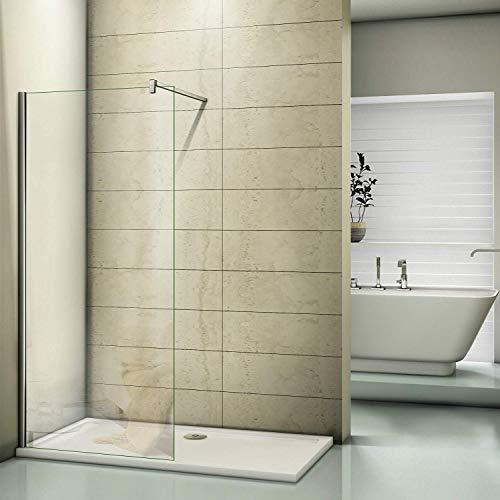 Duschwand 30x200cm Walk in Dusche Duschtrennwand 8mm Easy-clean Nano Glas Duschabtrennung mit Stabilisierungsstange