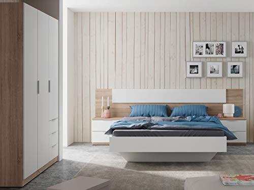 Miroytengo Pack Muebles Dormitorio Estilo nórdico para Camas 150 cm (Cabezal+2 mesitas+Armario)