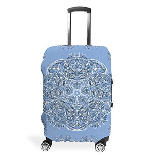 Funda protectora para maleta, diseño de mandala azul con flores de grano, funda protectora para el maletero