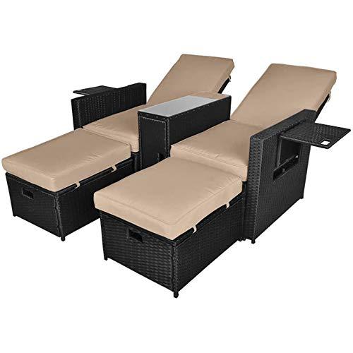 LetGoShop 5PCS Outdoor Wicker Chaise Lounge Chair - Rattan...