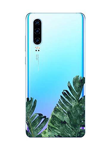 Oihxse Funda Compatible con Huawei P9 Lite 2017, Carcasa Transparente Silicona TPU Suave Protector de Golpes Ultra-Delgado Cristal Cover Anti-Choque Anti-Arañazos Bumper-Hojas 4