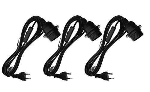 Trango Pack de 3 portalámparas E27 con interruptor 3TG1011-500B – Casquillo E27 negro con cable de alimentación de 5 m con anillo de rosca, interruptor – Lámpara colgante