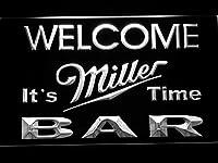 Miller It's Miller Time Welcome Bar LED看板 ネオンサイン ライト 電飾 広告用標識 W60cm x H40cm ホワイト
