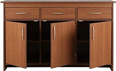 shilpi wooden standard multipurpose storage cabinet 3 doors & drawers natural brawn finishing