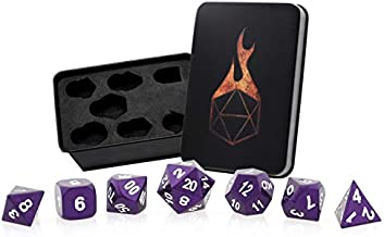 Forged Dice Co. Metal Dice Set - Polyhedral Dice Set of 7 with Dice Storage Tin and Stickers - Metal DND Dice and Gaming Dice for Dungeons and Dragons RPG Games Majestic Purple w/White Numbers