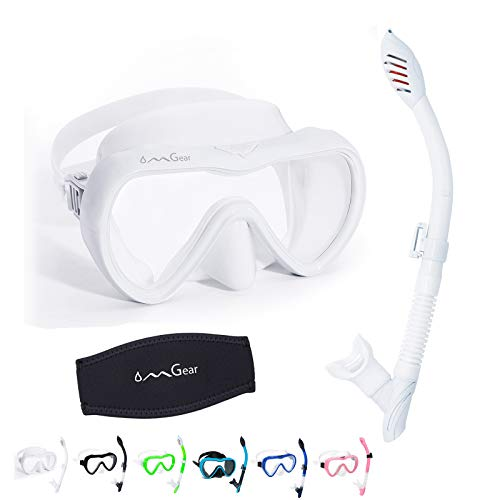 OMGear Snorkel Set Swim Goggles with Nose Mask Snorkel Combo Snorkeling Equipment Dive Goggles Snorkel Gear for Adult Junior Swimming Scuba Diving with Neoprene Mask Strap Cover (White)