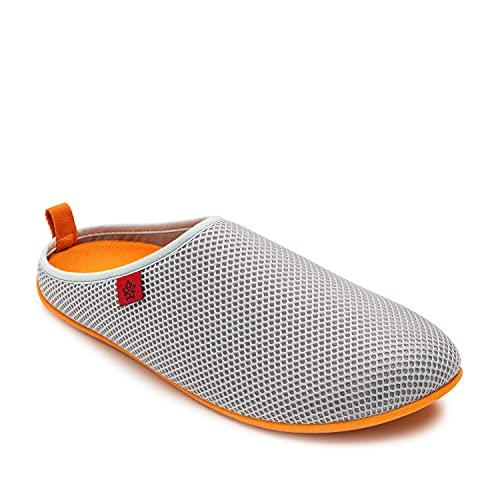 Andres Machado - Unisex Hausschuhe für Damen/Herren – Sommer – Dynamic – Pantoffeln Slipper - atmungsaktive Netzstruktur – rutschfeste Gummisohle/herausnehmbares Fußbett - Grau/Orange EU 37