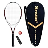 Senston Raquette de tennis Homme/Femme kit avec sac de tennis, Overgrip, Amortisseur-6couleurs., noir