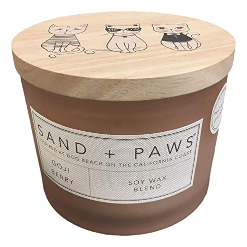 Sand + Paws Goji Berry Scented Candle, Neutralizes Pet Odors, 2 Wick, 12 Oz (Pink)