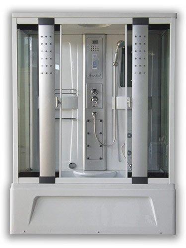 Box doccia idromassaggio combinato con comoda vasca da bagno 150x85 cm, massaggio plantare, cromoterapia, radio, telefono