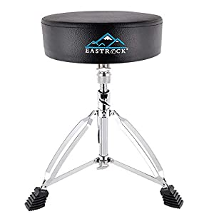 EastRock Height Adjustable Rotatable Drum Throne Padded Drum Seat drumming Stools with Anti-Slip Feet for Adults and Kids, Thicker Pad Black