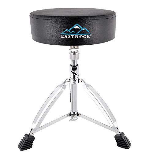 EASTROCK Adjustable Drum Throne Updated,Padded Drum Seat Portable Height Adjustable Rotating drumming Stools with Anti-Slip Feet for Adults and Kids, Thicker Pad Black