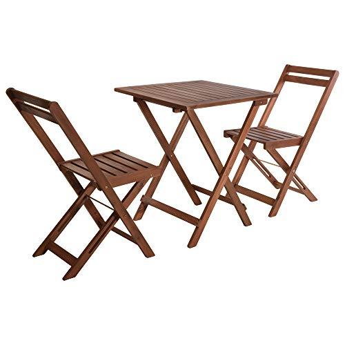 URBNLIVING 3 Pcs Outside Garden Patio Wooden Furniture Foldable Table & Chairs Bistro Set