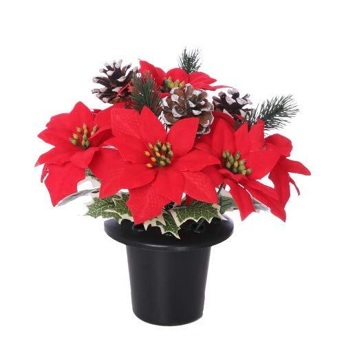 FS Artificial Red Poinsettia Snow Cone & Holly Christmas Grave Pot/Flower Arrangement