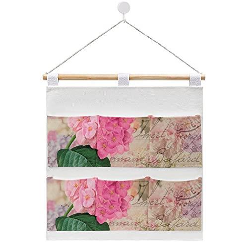 Redoute - Bolsa de almacenamiento de tela para colgar en la puerta, diseño de hortensia, color rosa, 6 bolsillos