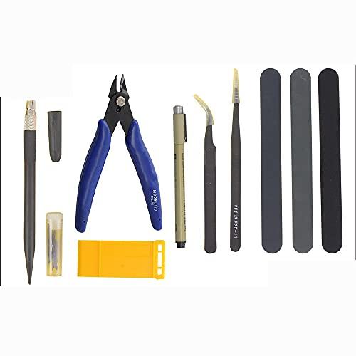 Shiwaki Model Tools Kit,Model Basic Tools Craft Set, Hobby Building Craft Set para Gundam Basic Model Building Reparación y fijación - Negro