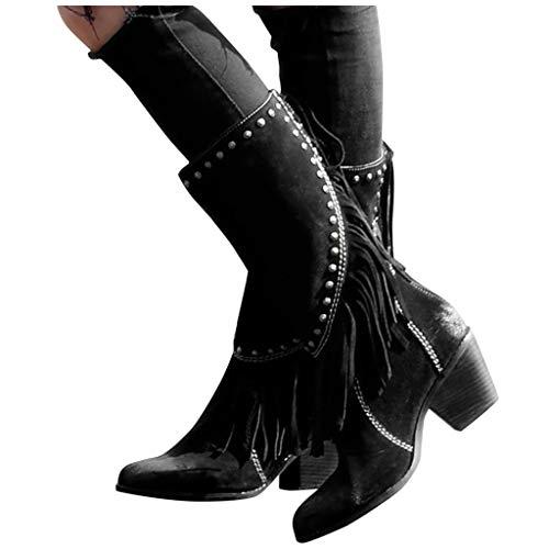 DNOQN Stiefel Stiefeletten Elegant Damen Boots Rome - Feste Schnürstiefel mit Fransen und Quadratischem Absatz in Übergröße Schwarz 43