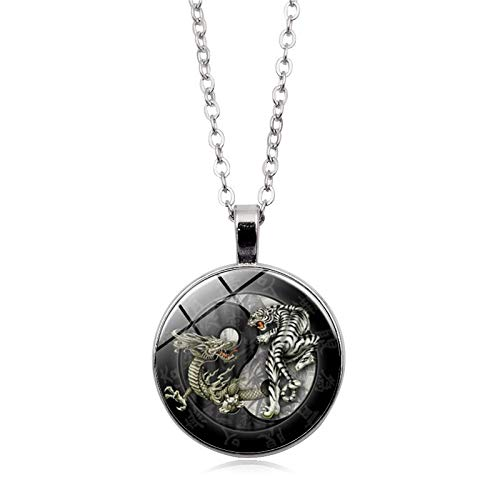 Halskette mit Anhänger aus Glas im chinesischen Stil, Tai Chi Drache, Tiger, Yin Yang, Retro-Stil, lange Kette