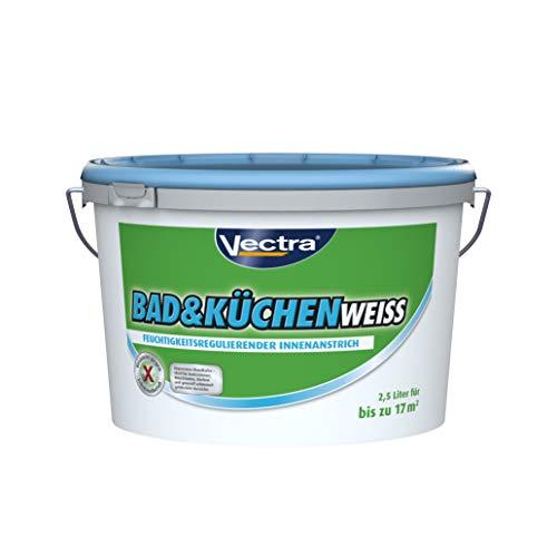 Vectra 2,500L Bad&KÜCHENWEISS Feuchtraumfarbe, Weiß, mit resistentem Filmschutz gegen Schimmelbefall Perfekt für Neu-und Renovierungsanstriche die regelmäßig Feuchtigkeit ausgesetzt, 2, 500L