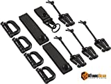 """The Atomic Bear Kit of 11 Attachments for 1 inch Molle Webbing Bags, Tactical Backpacks, Tactical Vests – 4 Grimlock D-Ring Carabiner Clips – 4 Molle Elastic Strings – 2 Straps 4"""" MOD Tac Tie"""