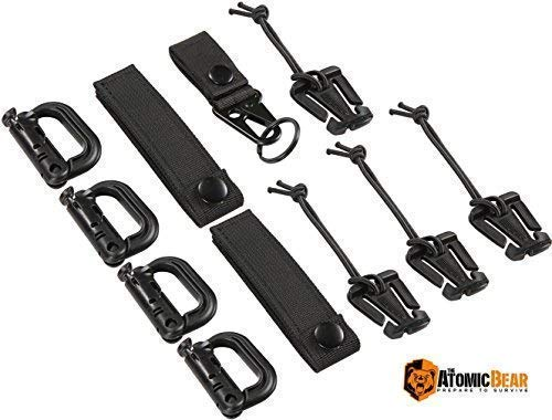 "The Atomic Bear Kit of 11 Attachments for 1"" Webbing Molle Bags, Tactical Backpack, Tactical Vest – 4 Grimlock Locking D-Ring Carabiner Clips – 4 Molle Elastic Strings – 2 Straps 4"" MOD Tac Tie"