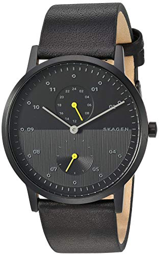 Skagen Men's Kristoffer Multi Quartz Leather Watch Color: Black IP/Black, 22 (Model: SKW6499)