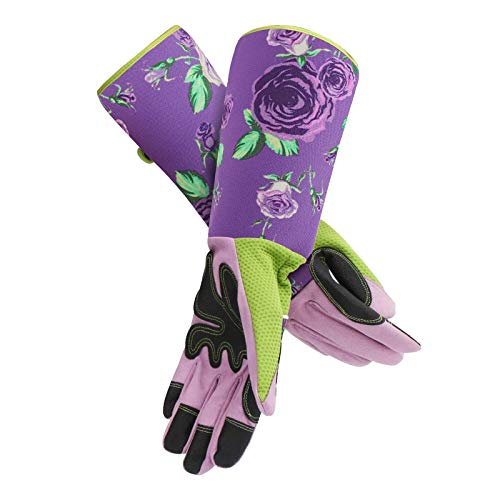Garden Gloves Thorn Proof, Enpoint Rose Pruning Garden Gloves with Elbow Length Sleeve Protection for Woman, Cute Rose Gardening Gloves for Blackberry Plant Rose Bush, Pretty Purple