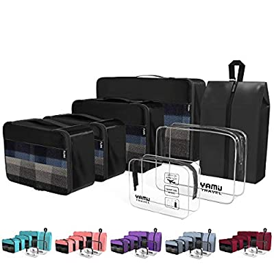 YAMIU Packing Cubes 7-Pcs Travel Organizer Accessories with Shoe Bag and 2 Toiletry Bags(Black)