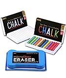 Huntz Non-Toxic White Dustless Chalk (12 ct Box) and Colored Dustless Chalk (12 ct Box) /(Washable & Reusable) Premium Microfiber Eraser