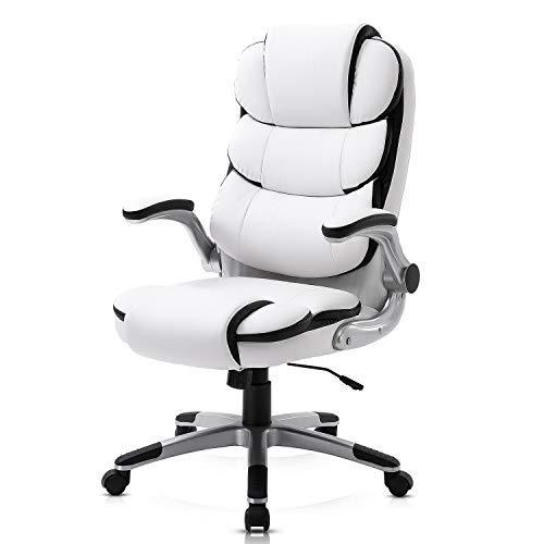 YAMASORO Ergonomischer Bürostuhl mit hoher Rückenlehne, Chefsessel Schreibtischstuhl mit Armlehnen, Höhenverstellung, Tragfähigkeit 150 kg (Weiss) …