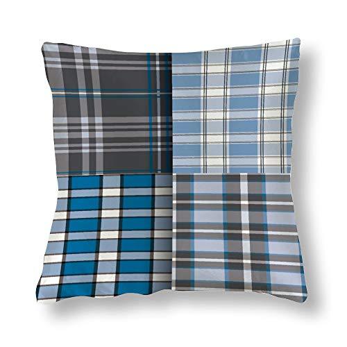 Fundas de almohada de seda sin marca, fundas de cojín, fundas de almohada de 20 x 20 pulgadas, costuras a cuadros para ropa de cama, sofá, silla, silla, asiento, sofá, banco, piso, sala de descanso, salón, hotel,