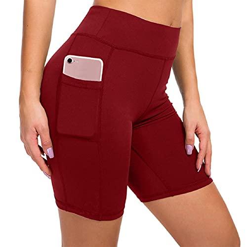 Tuopuda Cortas Leggins Mujer Pantalones Deportivas Cintura Alta Pantalones con Bolsillo del teléfono para Running Training Fitness Yoga y Pilates (Rojo,M)