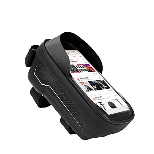 ZBQLKM Bolsa de Manillar Cuadro de la Bicicleta Bolsa Impermeable del Tubo del Frente de la Bici Bolso de la Bicicleta con el Caso del Tacto de la Pantalla del teléfono