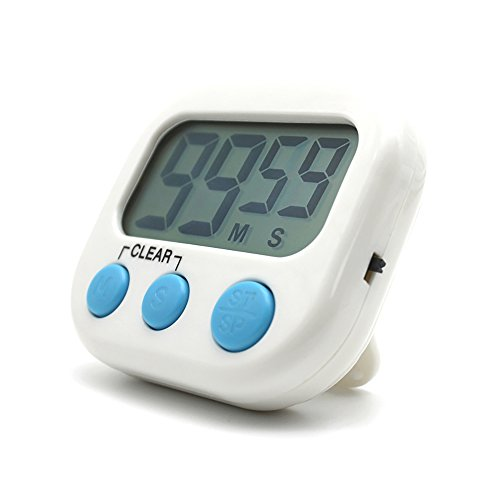 Temporizador digital electrónica cocina cocina nuevo reloj con alarma magnética y soporte, minuto segundo para arriba cuenta verde de cuenta regresiva, exhibición grande del LCD,Blanco
