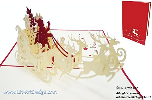LIN POP UP Karte 3D Grußkarte Weihnachtskarten Weihnachtsmann auf Rentiere (DE # 420)