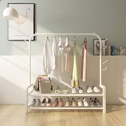 Soporte de barra para ropa de metal resistente con estante de almacenamiento inferior para cajas de zapatos Soporte para ropa de pie independiente Perchero para ropa con ganchos para bolsas,Beige