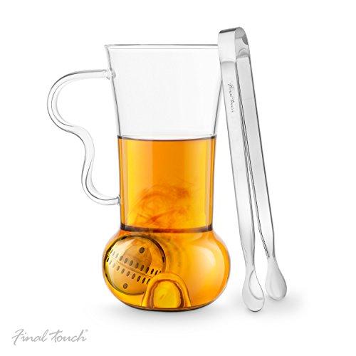 Final Touch Té Infusión Rodillo   el Juego Incluye Taza con infusor de té 14oz 400ML, Pinzas y perfusión infusor de té filtros Sueltos de Bola–Set de Regalo