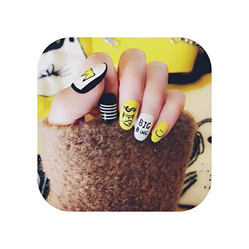 Motif de dessin animé jaune 24 feuille/ensemble Faux Faux Ongles Conseils Couvercle Rond Colle Manucure Maquillage Nouveau Design Pur Art Nail Stickers S12-S12 24 sheet-
