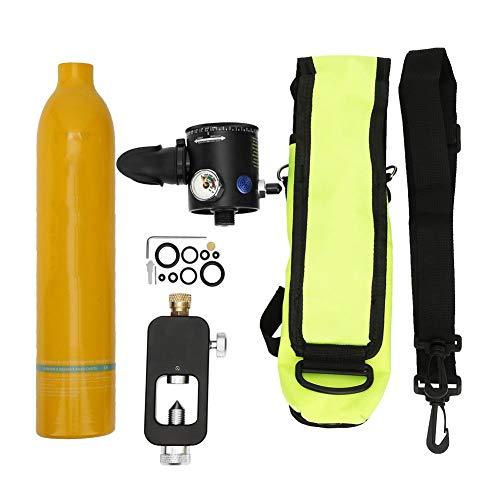 Focket Mini Tanque de Buceo, 0.5L Cilindro de Buceo Portátil Tanque de Oxígeno Respirador Subacuático Cilindro de Buceo Botella de Oxígeno Snorkeling Equipo de Buceo Accesorio con Buceo Adaptador