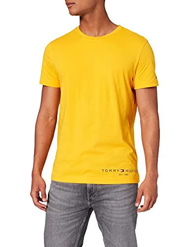 Tommy Hilfiger Hilfiger Logo tee Camiseta, Brillo ámbar, XL para Hombre
