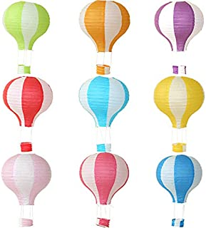 Hot Air Balloon Hanging Paper Lanterns Chinese Japanese Lantern Lamps Great for Birthday Parties, Wedding or Anniversary Decoration, 12 inch, Set of 9