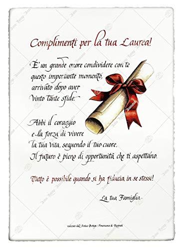 Festa di Laurea, pergamena regalo, scritta a mano su carta pregiata, confezione con marchio oro, personalizzata da Amanuensi calligrafi