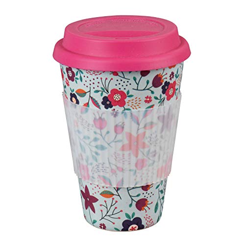 Cambridge CM04436 Poppy Flowers Reusable Sippy Mug with Silicone Lid and Sleeve