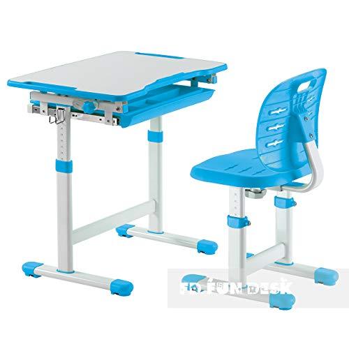 FD FUN DESK Piccolino III Blue Kinderschreibtisch neigungsverstellbar, Schreibtisch höhenverstellbar, Schülerschreibtisch mit Stuhl, Blau, 664x474x540-760 mm