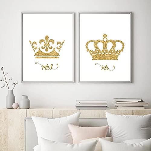 (Konst) Kung och drottning Guldkrona Kanvastryck Herr & Mrs Kärleksaffisch Par Sovrumsinredning Målning Väggkonst Alla hjärtans 27,5 x39,3 (70x100cm) 2st Ramlös