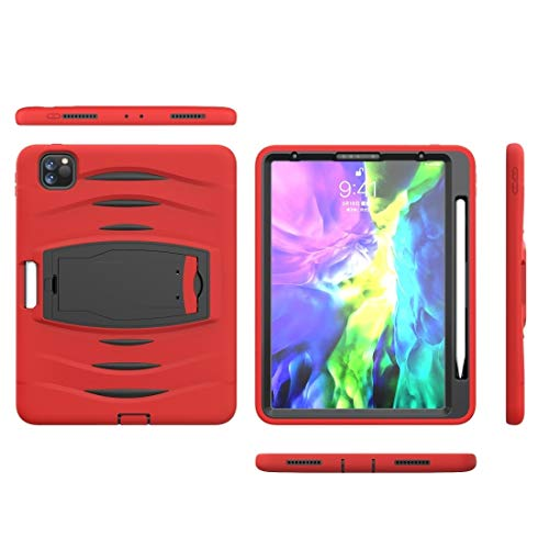 LIUJUN for iPad Pro 11 inch (2020) 3-Layer Plastic + Rubber Armor Defender Protection Shockproof Heavy Duty Rugged Protective Case with Holder & Pen Slot Phone Shell (Color : Red)